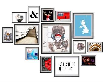 "London gallery wall art, London photography set, large travel photography set - ""Graphic London"""