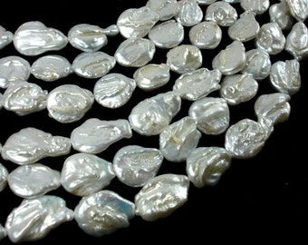 Fresh Water Pearl, Light Silver Gray, Approx(13-16)mmx(16-22)mm Flat Teardrop Beads, 16 inch, Full strand,20-23 beads,Hole 0.6 mm(229143001)