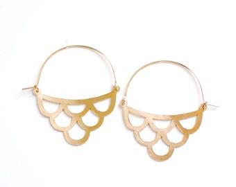 Vintage Inspired Wave Earrings | Brass Hoop Earrings | Gold Hoop Earrings | Sterling Silver Hoop Earrings | Moroccan Earrings | Ogee