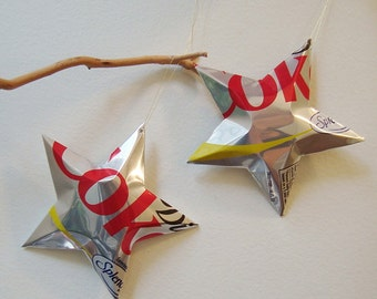DIET Coke with Splenda Stars Christmas Ornaments Soda Can Upcycled Coca Cola