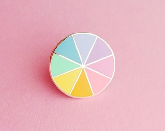 Pastel Colourwheel Enamel Pin Badge - Pastel Rainbow Lapel Pin