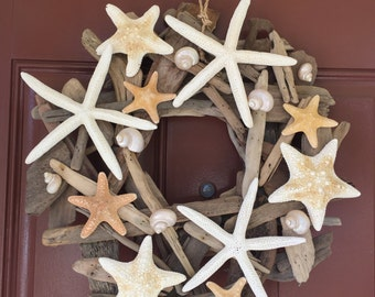 Beach Decor Starfish Driftwood Wreath - Starfish Wreath - Shell Wreath - Coastal Home Decor - Seashells - Christmas Wreath -Free US Shipping