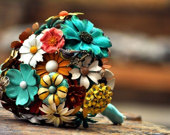 CUSTOM Wedding Jewelry Brooch Bouquet - to fit your colors, style & budget OOAK, vintage bridal bouquet