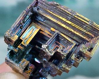 Rainbow Geometric Bismuth Crystal Mineral Specimen Excellent for Instilling Group Cohesiveness 010