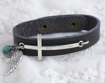 Cross Bracelet, Leather Cuff,Silver Cross,Barn Wedding,Pearl and Lace,Spiritual Jewelry,Angel Wing Bracelet,Spiritual Bracelet,Cuff Bracelet