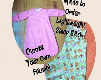 Cotton Flannel Baby Sleep Sack- Long Sleeve or Sleeveless- Choose Your Own Fabric