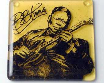 BB King Singer Fused Glass Coaster, Music, Musician, Guitarist, Lucille, Blues, Chicago