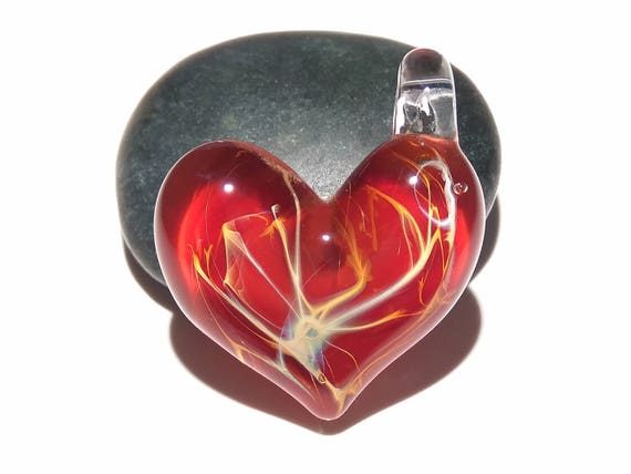 Valentine Glass Heart - Poppy Red - Heart Pendant - Gift for Her - Glass Jewelry - Glass Art - Blown Glass - Heart Charm - Love - Friendship