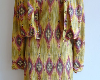 John Galliano ikat slip dress and cardigan jacket Spring Summer collection late 90s