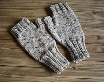 Knit Fingerless Gloves Texting Knit Oatmeal Tweed Winter
