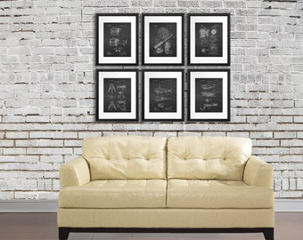 Fishing Home Decor Art Prints set of 6 Patents of Fishing Reels and Fishing Lure, Gift for Dad, Fishing Decor, Rustic Decor