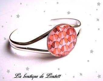 Butterfly red 25mm glass cabochon bracelet