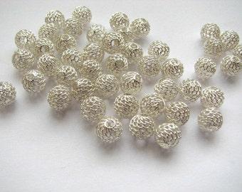 10 pcs Sterling Silver 10 mm Mesh Net Ball Beads