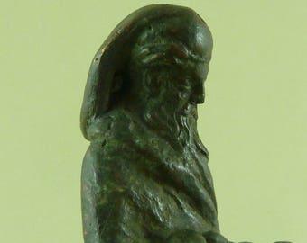 Antique Bronze Figural Caryatid Bachus Seal Verdigris European