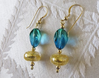 Gold-Filled Turquoise & Gold Venetian Glass Drop Earrings, GE-169