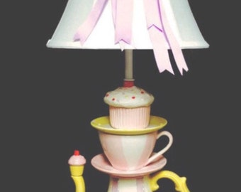 Teapot Lamp - Cupcake Lamp - Tea Party Decor