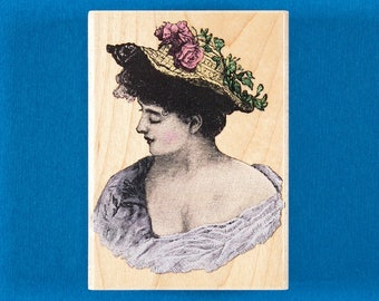 Romantic Portrait Rubber Stamp by Hero Arts - Woman with Roses on Her Hat
