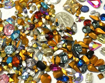 150 Plus Swarovski Rhinestone Mix  Chaton Navette Baguette Oval Octagon Pointed Back Foiled  Crystal Clay Jewelry Making Nail Art