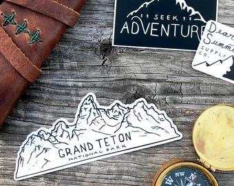 Grand Teton National Park Sticker. Mountain Lovers Grand Tetons Vinyl Sticker Car Decal Water Bottle Decal Bumper Sticker Hiking Sticker