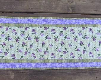 Lavender Iris Table Runner Reversible Quiltsy Handmade