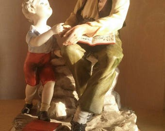 VINTAGE CAPODIMONTE FIGURINE old man and child- pottery capodimonte maestro Gianni Merlo -regalo matrimonio-figurines da collezione