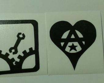2 Decal set: Monkeywrench Sabotage Anarchy Symbol Heart Vinyl Decals