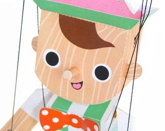 Pinocchio Marionette Puppet Printable Paper Craft PDF