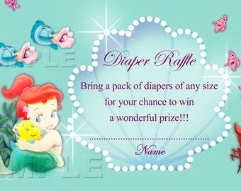 Disney Baby Princess Ariel Diaper Raffle Ticket Diaper Raffle Card Diapers Raffles Baby Shower Games - INSTANT DOWNLOAD