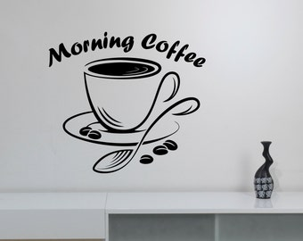 Morning Coffee Wall Art Decal Modern Logo Window Sign Vinyl Decorations for Restaurant Coffee Bar House Shop Kitchen Dinning Room Decor cff7