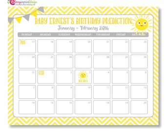 You Are My Sunshine Guess the Due Date Calendar - Baby Shower Birthday Prediction - DIY (PDF or JPEG)