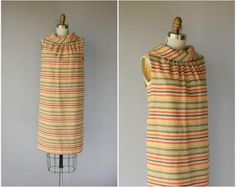 Vintage 1960s Wool Shift Dress   60s Dress   1960s Dress   60s Striped Dress   1960s Day Dress - (medium)