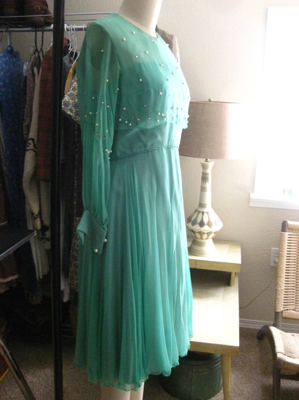 Sea Foam Green Rhinestone Party Dress SALE