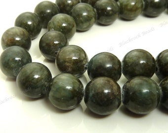 10mm Dark Moss Green Mashan Jade Round Gemstone Beads - 16 Inch Strand - BF5