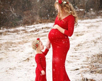 35 colors Maternity gown•Mother Daughter matching dresses• any color•maternity dress•little girl dress•baby shower•photo prop•plus size