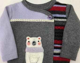 Polar Bear Love - Child's Sweater Jacket - Pieced Recycled Wool with Needle Felting, size 1-2 OOAK HANDMADE by Val's Art Studio
