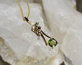 Green Tourmaline Pendant Necklace with Diamond,Tourmaline Gold Necklace , Gold Pendant on 18 inch Chain