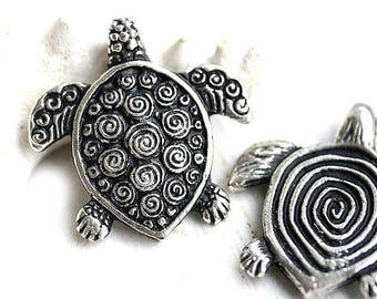 Fancy Turtle pendant bead, Antique Silver Greek casting metal turtle focal bead, Lead Free, 30mm - 1pc - F007