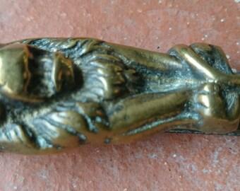 Vintage Salvaged Small Lion brass door knocker