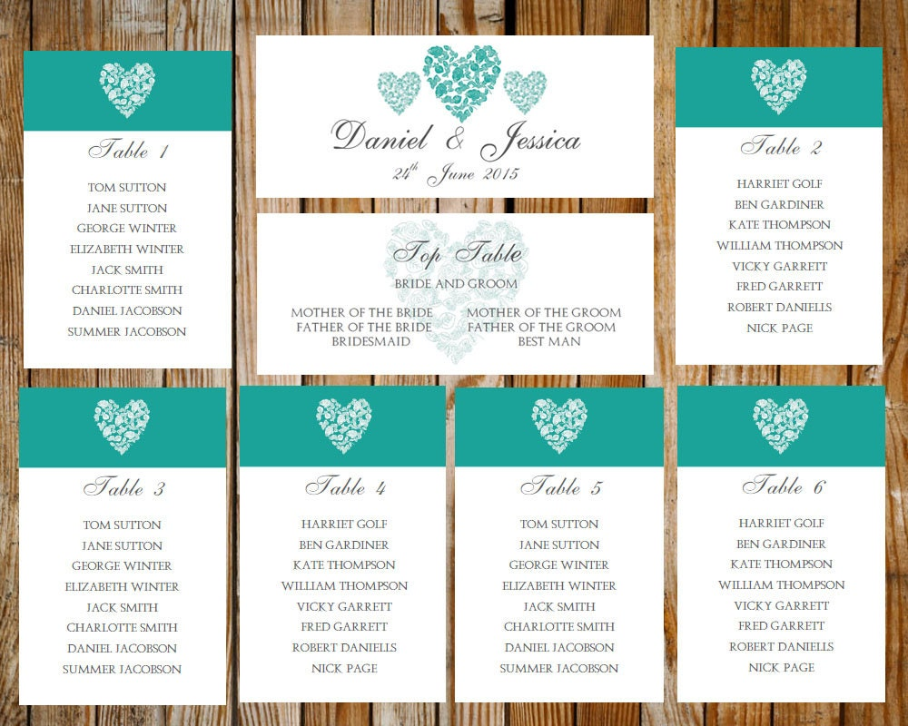 Wedding seating chart trio of hearts tealdownload printable for Table design ms word