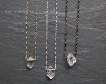 Herkimer Diamond Necklace / Herkimer Diamond / Select Diamond / Custom Length Chain / Crystal Necklace / Herkimer Necklace / Herkimer