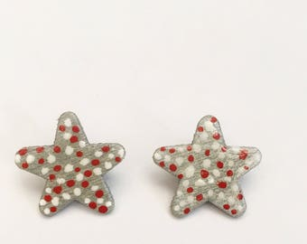 Grey Star Earrings with Red and White Polkadots