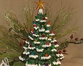 "Ceramic Christmas Tree Lighted 14"" Nowell Vintage Mold - Green - White Base - Star"