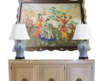 Mid Century Modern Chinoiserie Art Print LARGE Wood Carved Pagoda Frame Chinese Asian Airbrush Painting Hollywood Regency Asian Glam Decor