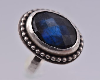Rose Cut Labradorite and Sterling Silver Orb Ring Size 7