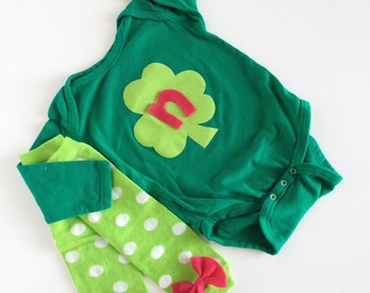 St. Patrick's Day Shamrock Initial PInk Green One Piece With Bow Baby Leg Warmers