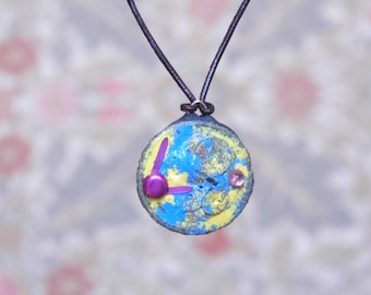 Cute steampunk pendant, watch part pendant, FREEPOST, mock clock pendant, upcycled jewellery, blue yellow pink small pendant, giftwrapped