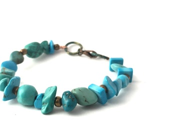 Blue Beaded Bracelet Boho Bracelet-Turquoise Bracelet-Blue Boho Bracelet-Rustic Bracelet- Earthy By Design- Natural Stone- Beaded Jewelry