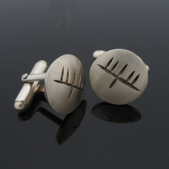 Handcrafted Silver Ogham Cufflinks - Pesonalised Jewelry - Unique Jewelry -Wedding Father's Day - Groomsman - Bestman