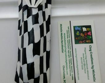 Mezuzah - Black and White Checkered Flag (#282)