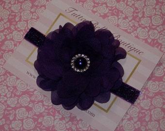Royal Purple Flower Headband, Plum Chiffon Headband, Purple Glitter Headband, Baby Toddler Headband, Dark Purple Baby Hair Bow Flower Girl